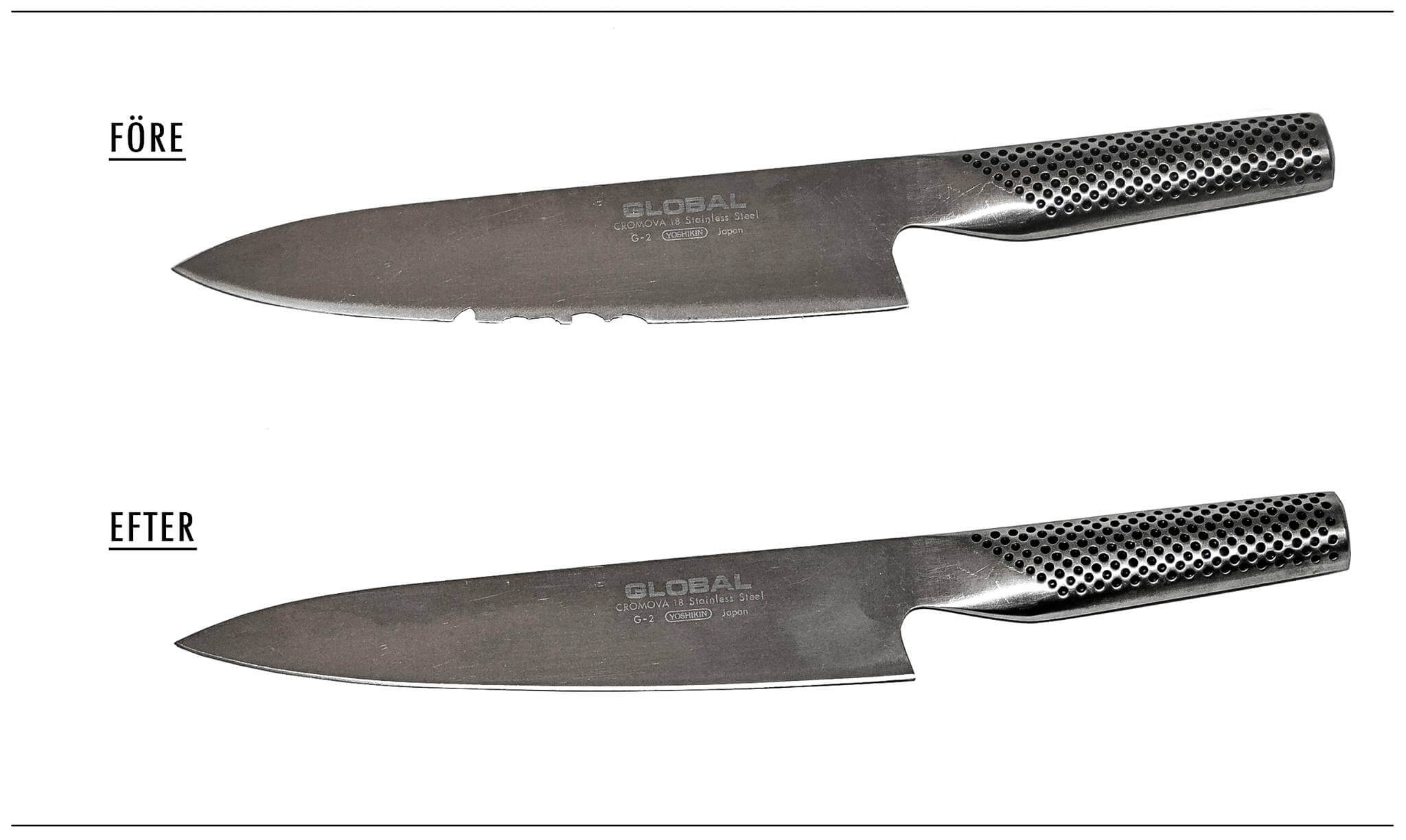 Fantastisk Slipa Globalknivar som kockarna! Knivbrev - Sveriges största sliperi PK19